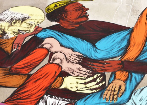 part of a street art painting, a black man with a yellow baseball hat, an older Chinese man with a small beard, as well as other arms and legs tangled up together