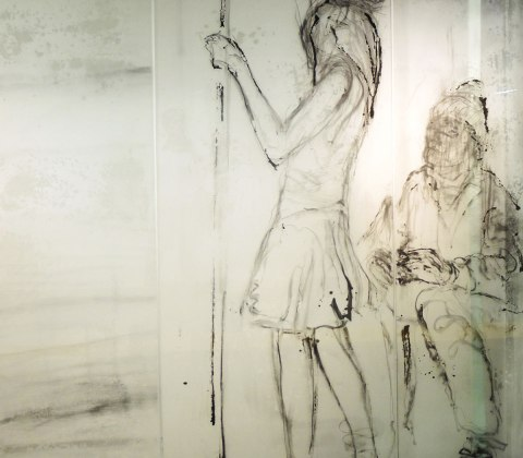 part of an art installation, paintings on glass panels,