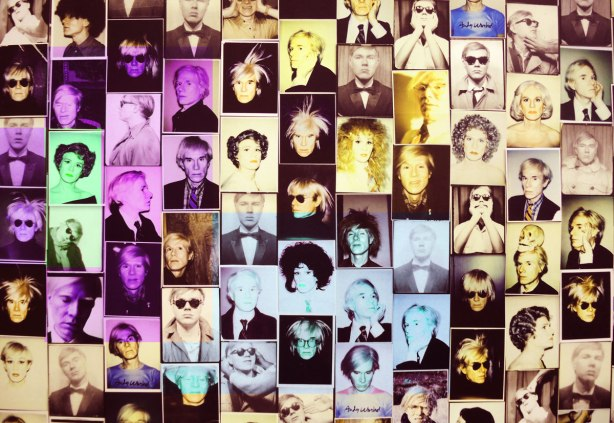 A collage of photos of Andy Warhol, many photos, about 100 or more