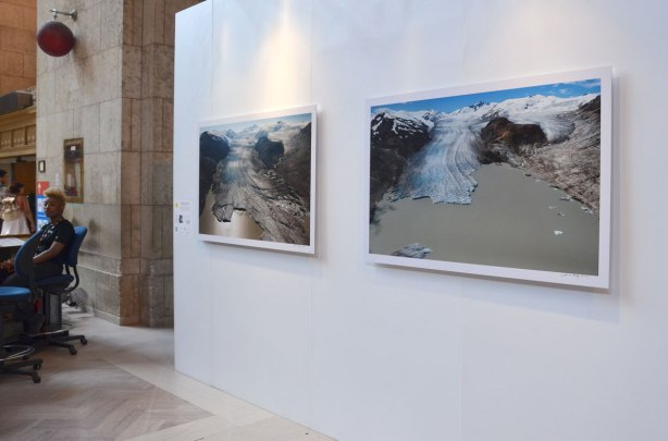 large photographs, part of an exhibit at Union Station in Toronto -
