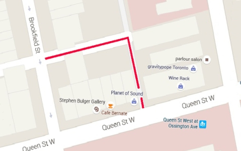 map of Queen West at Ossington showing the northwest quadrant