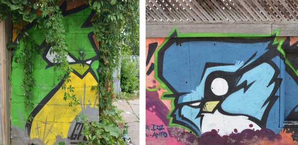 two street art pictures that look a bit like angry birds