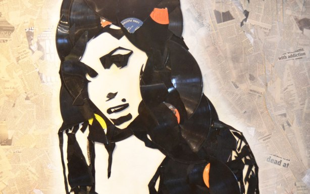 image of Amy Winehouse made from broken records on a background that is a collage of newpaper pieces.