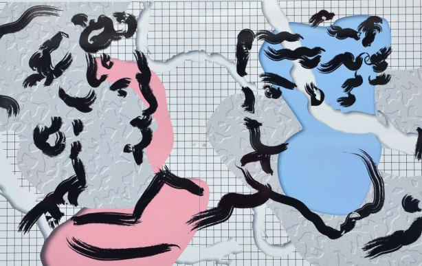 A picture of two people, man and woman, both drawn with black lines, the man has pink highlights and the woman has blue. Both are from the shoulders up and they are looking at each other.