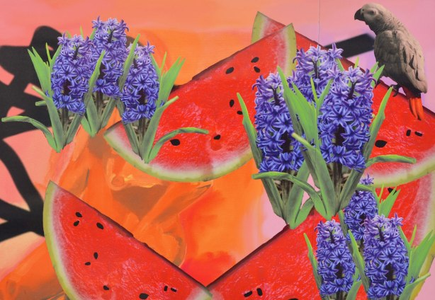 colourful image with slices of watermelon, purple hyacinth flowers, and a parrot