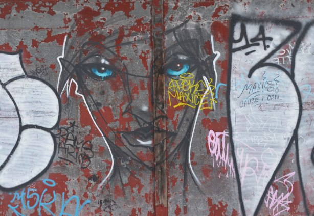 A face painted on a garage door.  bright blue eys, otherwise drawn with just black lines.   by the artist anser