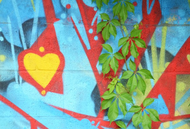 close up picture of a green leafed vine growing up a street art painting in blue and red with a yellow heart