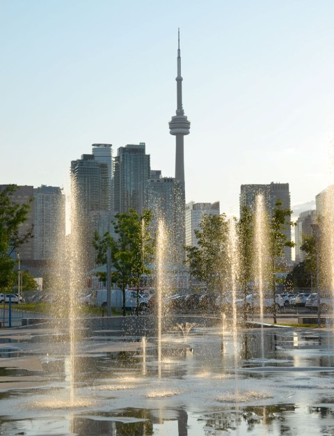 Sherbourne Common looking towards downtown and the CN tower. Splash pad with fountains in the foreground with late afternoon sun shining on the water