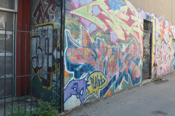 A small corner in an alley that is behind metal bars, has graffiti on the wall. Beyond that is a wall cover with street art.