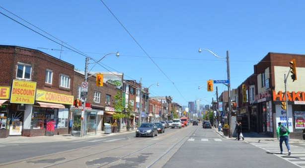 view of Dundas St. West, looking eastward towards downtown from the intersection with Dufferin St.