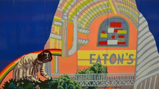 part of a mural at Queen subwaystation in Toronto, a misshapen Eaton Centre with a grotesque looking woman bending over in her garden in the foreground.