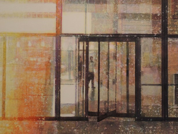 close up of a slightly abstract painting of a person about to go through a revolving door in a glass wall