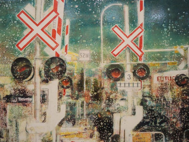close up of a painting of a large number of railway crossing signs.