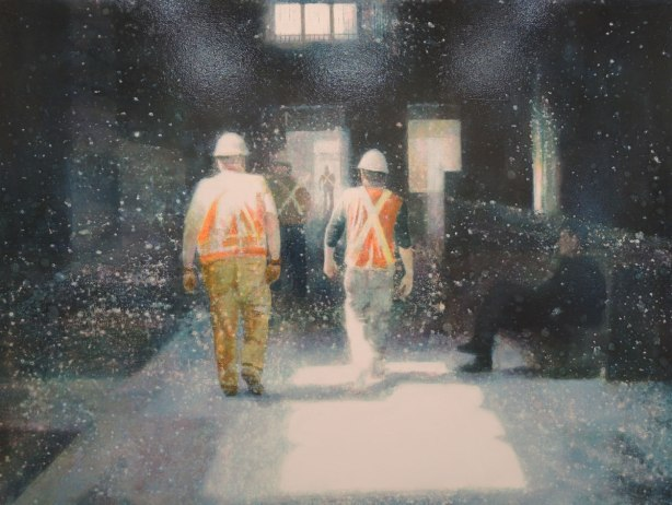 rtwork picture of two construction workers wearing orange and yellow safety vests as they walk into a building that is being renovated