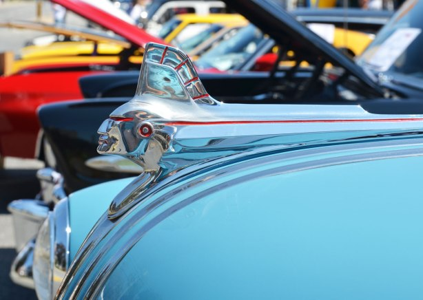 picture taken at a car show - detail of the hood ornament on a light blue 1951 Pontiac