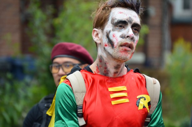 people dressed up as zombies - Robin, the boy wonder as a zombie