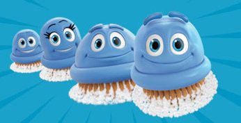 A picture of blue scrubbing bubbles from TV ad