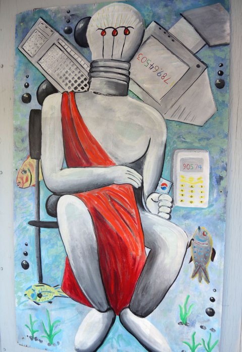 A painting of a person sitting on a chair with only a red cloth draped over their body. The head is a light bulb. A calculator, smartphone and computer monitor and some fish are floating around the person.