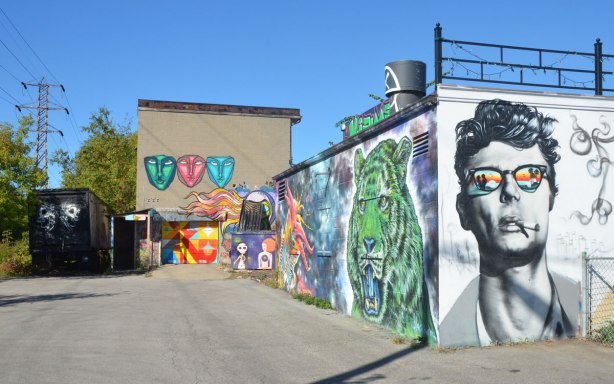 the sides of a couple of buildings covered with street art including the head and shoulders of James Dean wearing sunglasses with a beachscene, a green animal head and three anser faces.