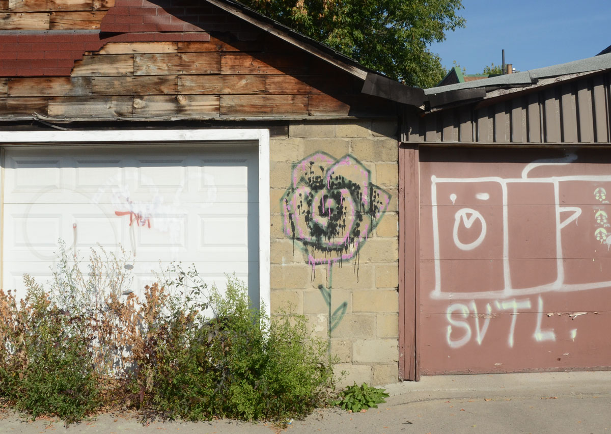 A Shite Garage Door In An Alley, On The Concrete Block Wall Beside The  Garage