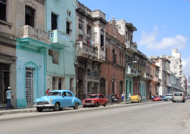 picture taken inthe old part of the city of Havana Cuba - street scene.  Old buildings, old cars