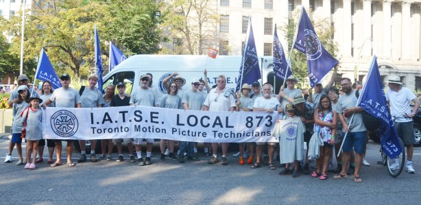 Group shot of union IATSE local 873, Toronto Motion Picture Technicians, prior to walking a labour day parade