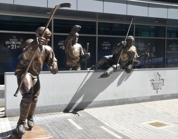 Three of the bronze statues of hockey players outside the ACC, Legends Row. Matt Sundin, Borje Salming and Darryl Sittler are in the picture, or at least their statues are.