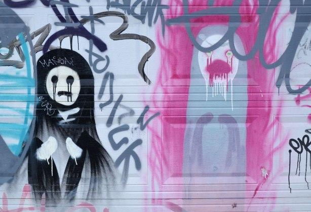 graffiti on a garage door