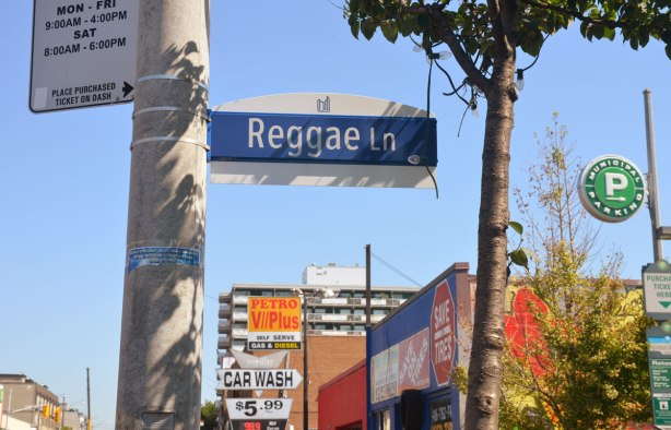 A blue and white Toronto street sign that says Reggae Lane. Some stores and a tree are in the background.
