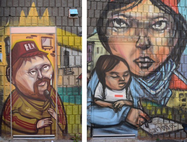 two pictures, both part of a mural by elicsr. On the left is a man in a brown and olive green adidas jacket. He is wearing a brown baseball cap with the letters ELX on it. On the right is a picture of a woman with her arm wrapped around a young girl. She is writing a letter.