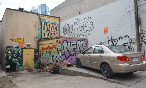 The back of a couple of buildings in an alley, covered with graffit, mostly tags. One says Herbs and another says Near. A beige car is parked there too.
