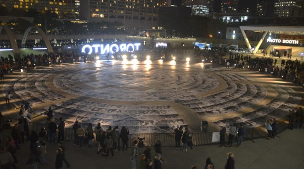 view of the Inside Out Project at Nathan Phillips Square on Nuit Blanche 2015