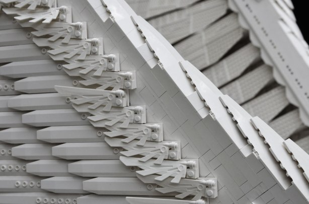 close up of the wings and the lego blocks used to make the sculpture of a barn owl