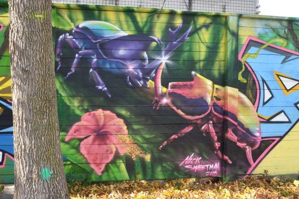 street art mural by Nick Sweetman of two large beetles and a pink flower, on a wall, St. Helens Ave in Toronto