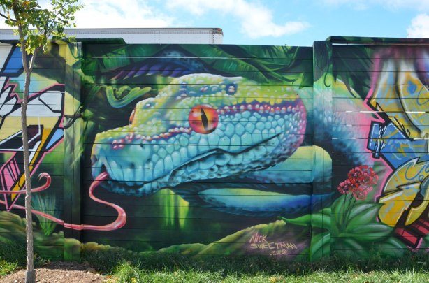 street art mural on a wall, by Nick Sweetman, of a snake head in blue, purple and green, with a long pink tongue and an orange eye
