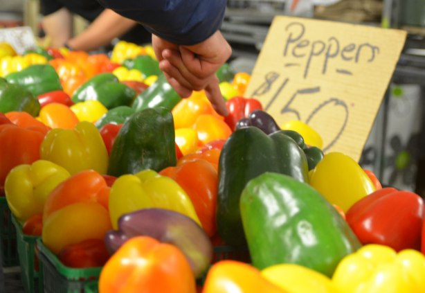 a man is pointing to the peppers he wants to buy, there are green, red, orange, yellow and purple peppers for sale