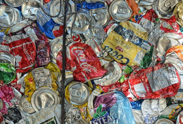 Crushed alumiium cans ready to be recycled