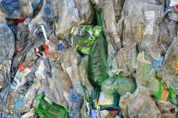 Crushed plastic bottles ready to be recycled