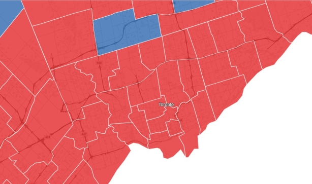 map of Toronto federal election results showing almost all seats were won by the Liberal party