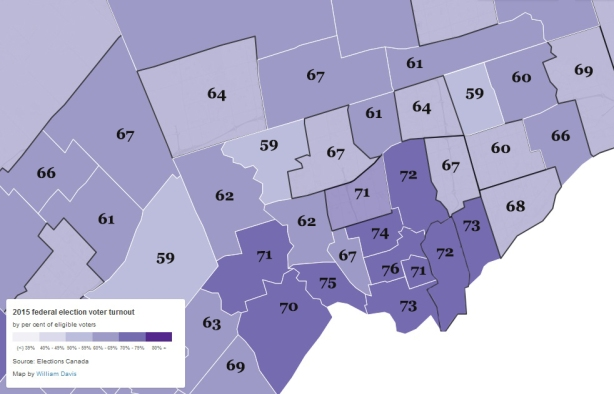 map showing the voter turnout in each riding in the Toronto area in the 2015 federal election