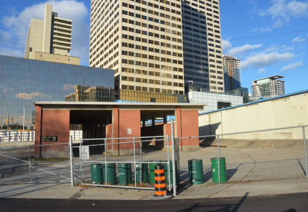 abandoned part of Eglinton subway station, behind chain link fence