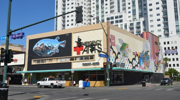The Emergency Arts building on the corner of Fremont and 6th Street in Las Vegas. A giant street art fish is one one wall
