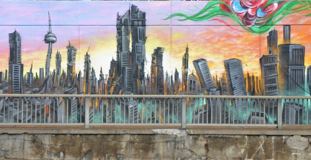 part of a larger mural on an underpass in Toronto, on Lawrence West, an apocalyptic view of Toronto with the CN Tower and downtown skyscrapers crumbling in a lifeless city