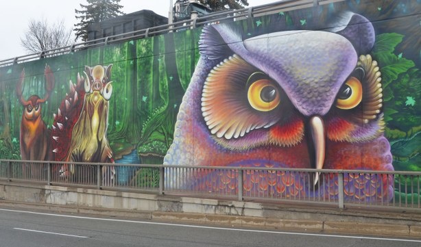 part of a larger mural on an underpass in Toronto, on Lawrence West, a large owl in purples and reds with a yellow eyes. He dominated the picture. There is also a warthog and an elk (reindeer?) behind him