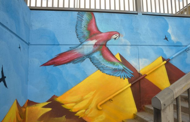 street art picture of a red and blue macaw flying over pyramids, its painted beside a set of stairs so it looks like the bird is flying up the staircase