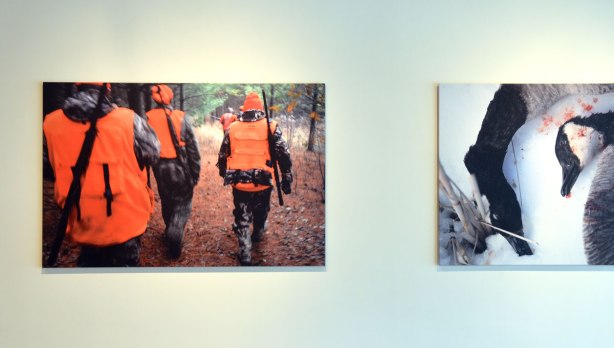 A picture of a large photograph of people in orange vests and hats as they set out with their rifles on a hunting trip. To the right is part of a picture of dead geese but only part of it is visible