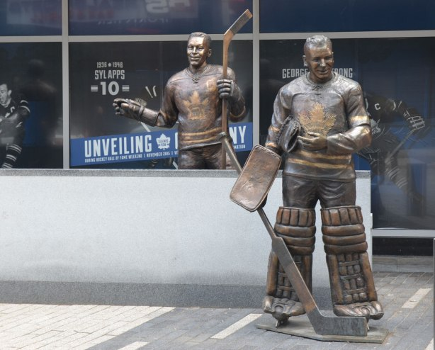 Legends ROw statues George Armstrong and Johnny Bower