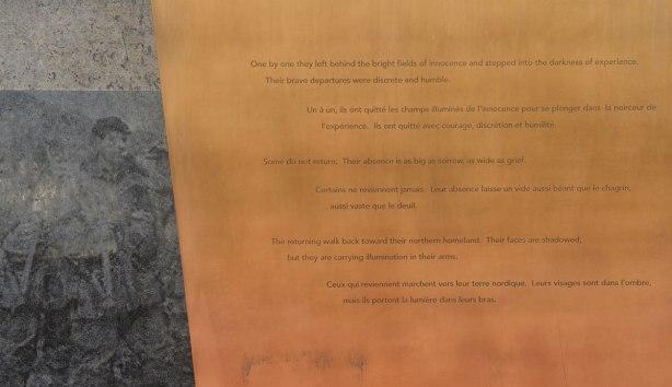 part of a war memorial showing the wars written on it