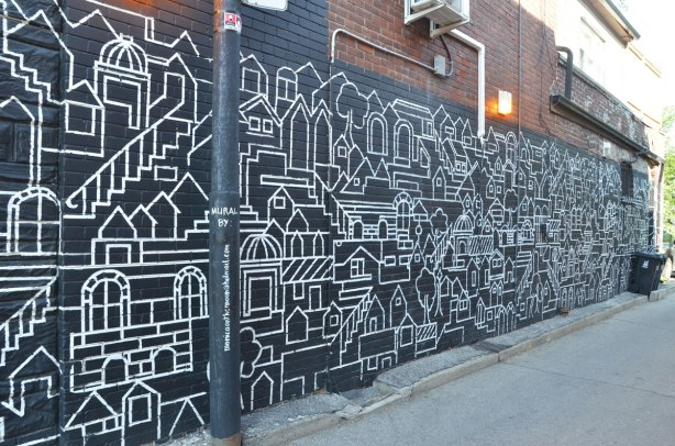 long mural, black background, white line drawing of a city scene by Monica on the Moon