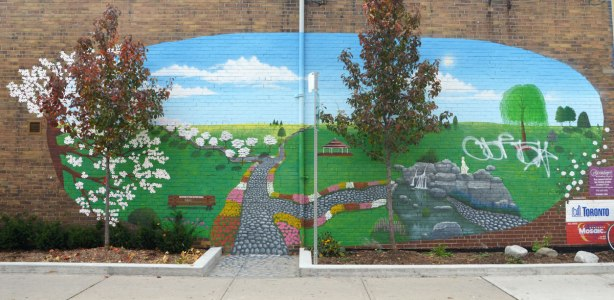 mural of a park scene, grass, garden, trees in spring, mural on the side of brick building.